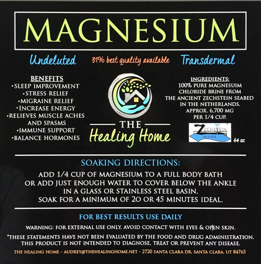 The Healing Body magnesium supplement label
